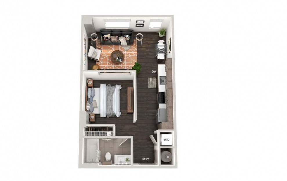 A101 - Studio floorplan layout with 1 bath and 588 square feet.