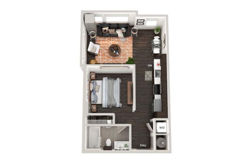 A101b - Studio floorplan layout with 1 bath and 613 square feet.