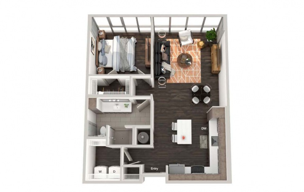 A103a - 1 bedroom floorplan layout with 1 bath and 780 square feet.