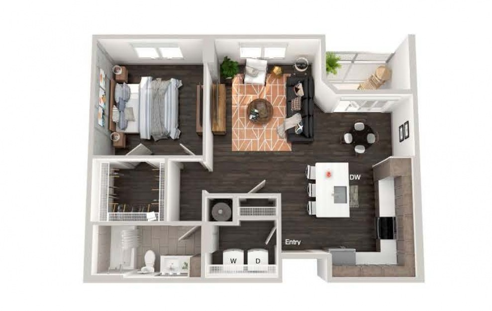 A104 - 1 bedroom floorplan layout with 1 bath and 818 square feet.