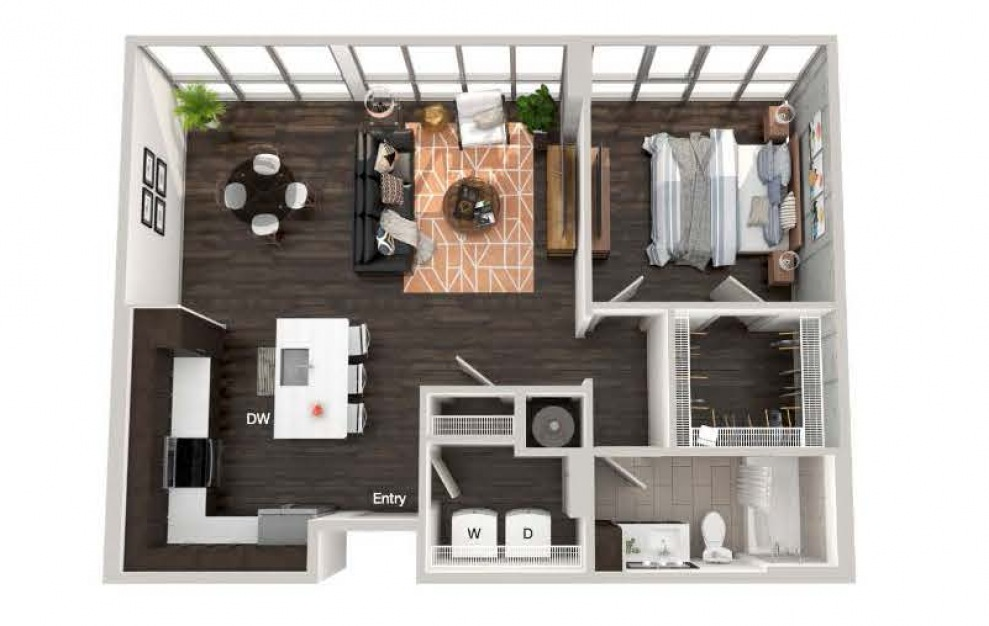 A104a - 1 bedroom floorplan layout with 1 bath and 873 square feet.
