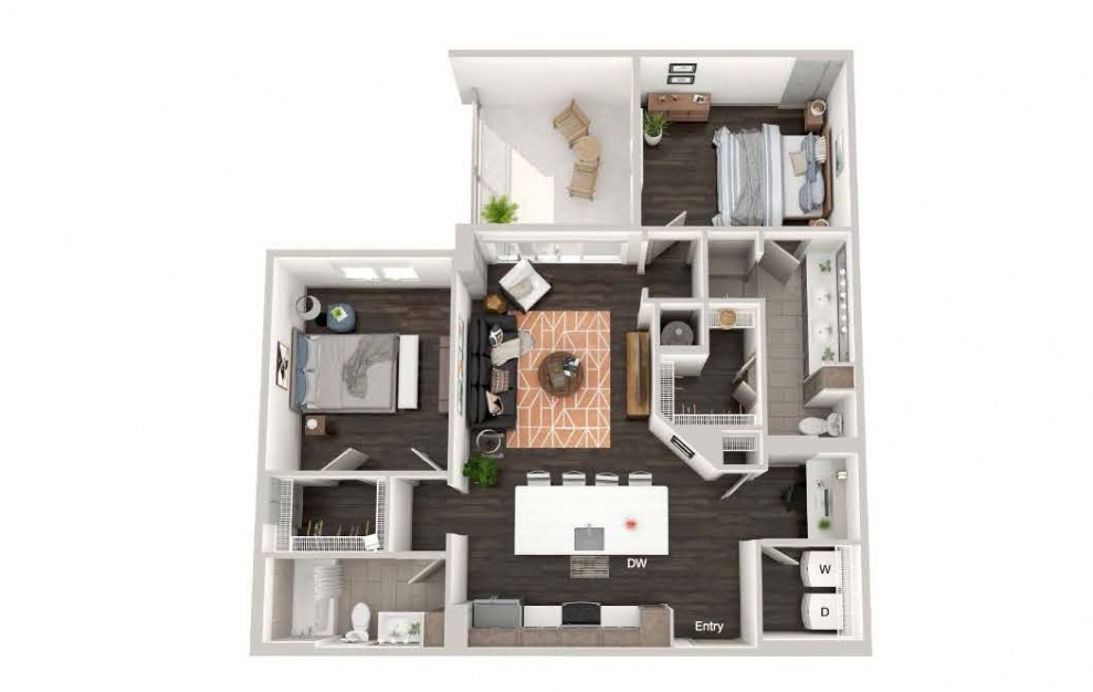 A105 - 2 bedroom floorplan layout with 2 baths and 1128 square feet.