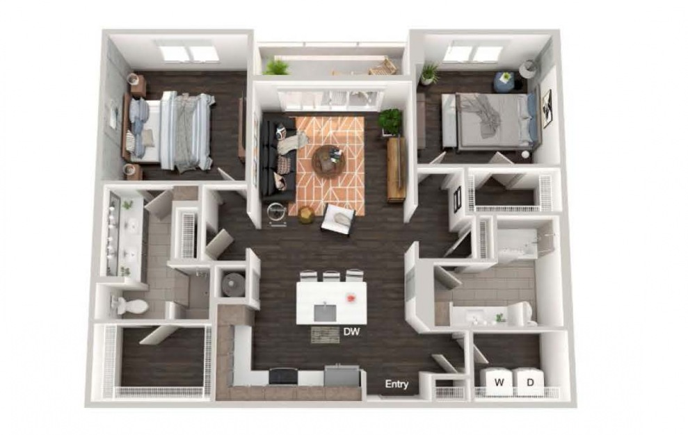 A106 - 2 bedroom floorplan layout with 2 baths and 1127 square feet.