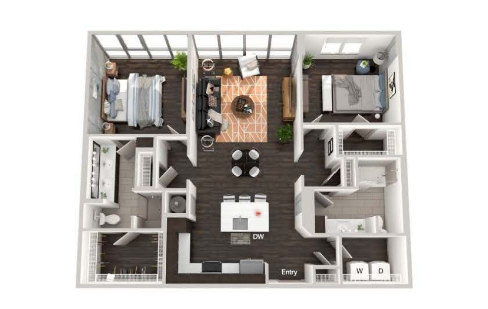 A016a - 2 bedroom floorplan layout with 2 baths and 1178 square feet.