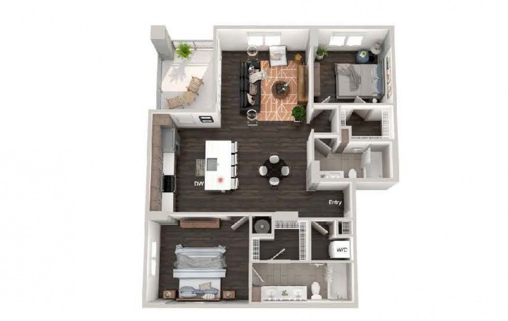 A107 - 2 bedroom floorplan layout with 2 baths and 1186 square feet.
