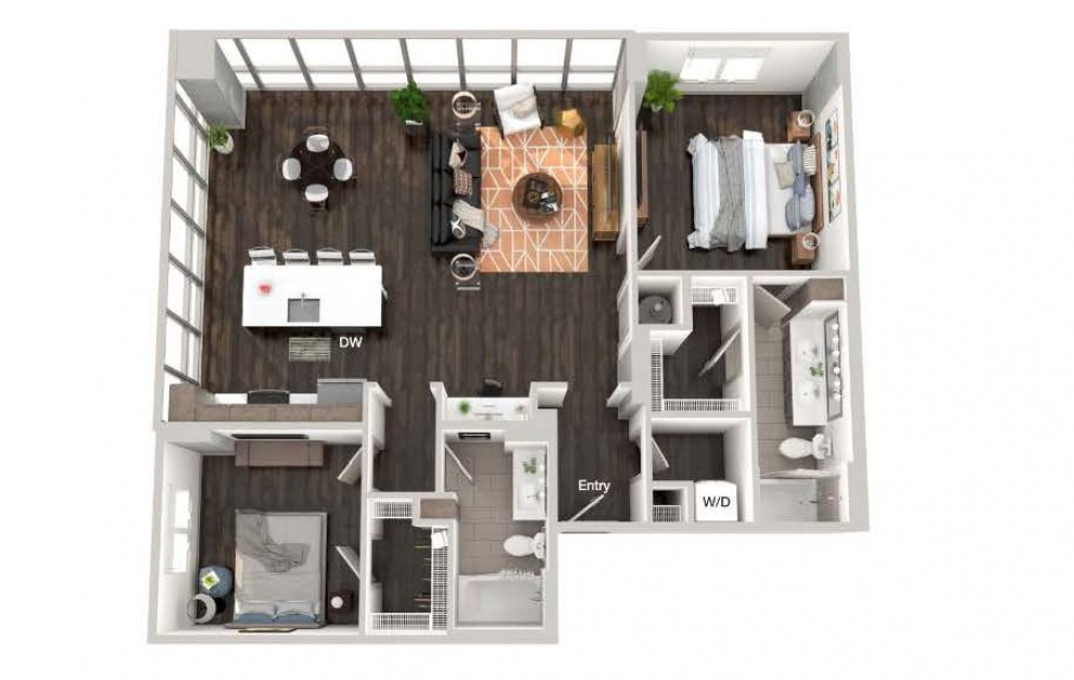 A107a - 2 bedroom floorplan layout with 2 baths and 1281 square feet.