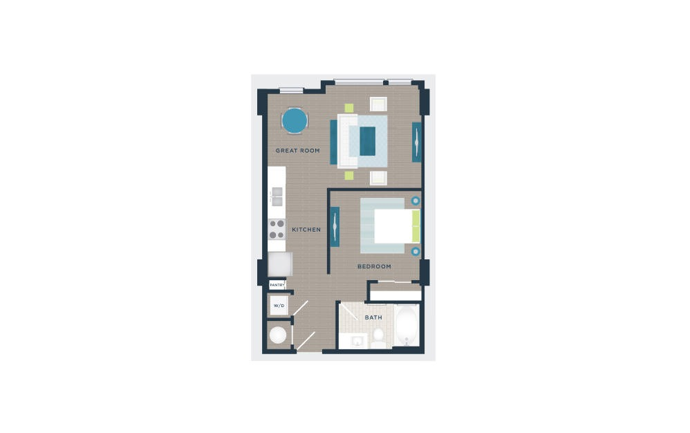A101a - Studio floorplan layout with 1 bath and 600 square feet.