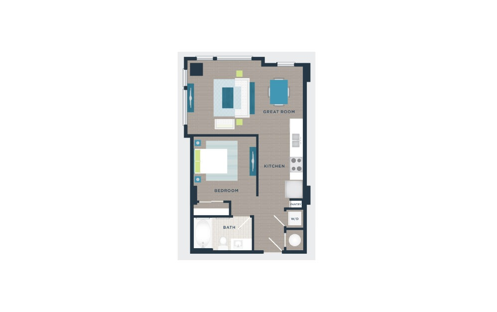 A101b - Studio floorplan layout with 1 bath and 613 square feet.