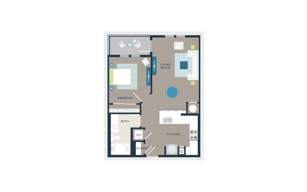A102 - 1 bedroom floorplan layout with 1 bath and 674 square feet.