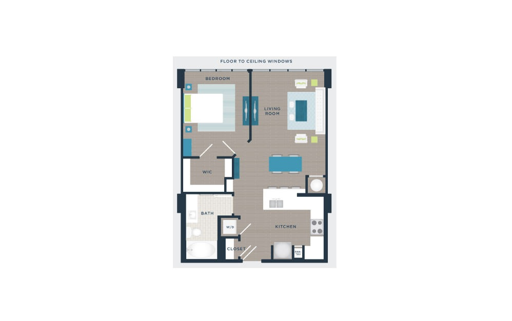 A102a - 1 bedroom floorplan layout with 1 bath and 728 square feet.